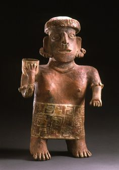 Standing Female Figure    Mexico, Nayarit, Ixtlán del Río, 200 B.C. - A.D. 500 Sculpture Slip-painted ceramic with postfire applied paint ½ x 13 x 6 in. (1.27 x 33.02 x 15.24 cm) The Proctor Stafford Collection, purchased with funds provided by Mr. and Mrs. Allan C. Balch (M.86.296.17) LACMA