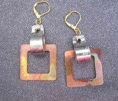 Mixed Metal Torch Fired Geometric Earrings by FirednWiredJewelry on etsy