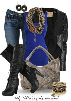 Fitted jeans, tank with animal print scarf, black leather jacket and the cutest black leather boots | Outfit | Clothes | Fashion