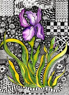 9 x 12 Watercolor Painted Iris surounded in Doodles By Lynne Howard