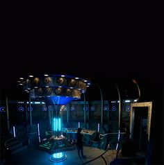 new tardis! very dark, blue, poor doctor...but pretty edgy too. represents a sad doctor torn by grief...
