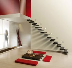 floating Staircase Brackets Different Types Of Staircase With Black Floating Stairs And No Railing Stairs Image 80 - Stairs Design Ideas Interior Stairs, Interior Architecture, Stairs Architecture, Escalier Design, Floating Staircase, Spiral Staircase, Staircases, Small Staircase, Loft Staircase