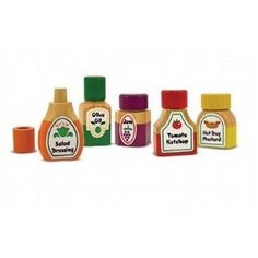 Amazon.com: Melissa & Doug Deluxe Wooden Magnetic Kitchen Bottle Collection: Toys & Games