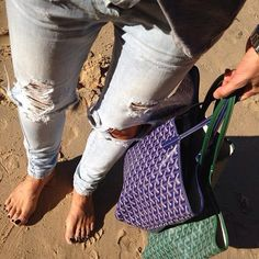 Again, My Fav Ripped Jeans with A Goyard To The Beach ... What Color Do I Choose?