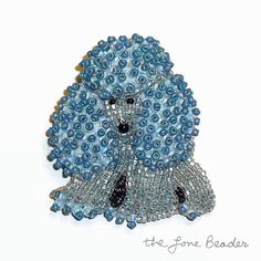 Tiny Blue & Gray Beaded MINIATURE POODLE dog art by thelonebeader, $95.00
