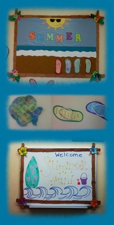 Summer Bulletin Board Classroom -Summer Board (Cork and Dry Erase) -Tissue Paper Scales on Fish -Flip Flop Summer Writing Activity (w/ pipe cleaners.