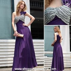 Purple Evening Gown - One Shoulder Night Gown $205.00 (was $242) Click here to see more details http://shoppingononline.com #PurpleEveningGown #OneShoulderEveningGown #OneShoulderDress #PurpleDress #CustomMadeDress