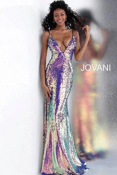 jovani Multi Low V Neck Spaghetti Straps Sequin Prom Dress 67318 Elegant Dresses, Pretty Dresses, Sexy Dresses, Beautiful Dresses, Simple Dresses, Sequin Prom Dresses, Jovani Dresses, Sequin Gown, Sequin Party Dress