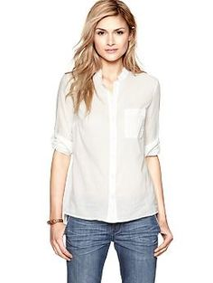 Casual soft white cotton button-up shirt and jeans