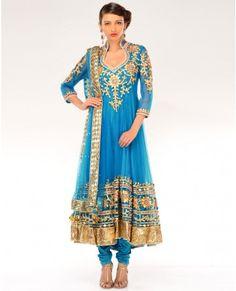 Cerulean Blue Kalidar Suit with Gota Patti Embellishments