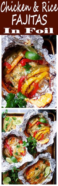 """Chicken and Rice Fajitas in Foil Dinner Recipe 