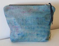 Hand dyed Linen Makeup Bag/ Purse Aqua by EmmaJuneDesigns on Etsy, €19.00