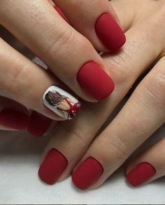 Square nails are very popular and are known as glamorous nail shapes. This form of nails is sure to attract attention and is suitable for women who wear medium-length nails. Red Matte Nails, Red Manicure, Square Nail Designs, Nail Art Designs, Nails Design, Punk Nails, Tape Nail Art, Short Square Nails, Short Nails
