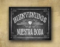 Bienvenidos a Nuestra Boda espagnol Bienvenue à notre mariage - signalisation de mariage tableau noir imprimé - rustique coeur Collection