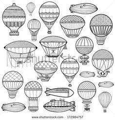 Set of colorful cute balloon, aerostat. Line illustration