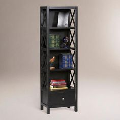 "One of my favorite discoveries at WorldMarket.com: Antique Black Easton Tall Narrow Bookcase - Cost Plus $206 - 22"" wide"
