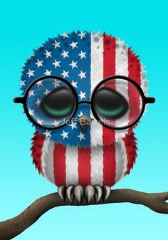 Nerdy American Baby Owl on a Branch by Jeff Bartels