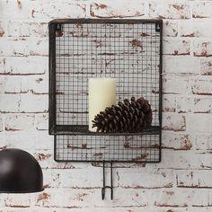 Vintage Retro Shabby Chic Wall Metal Wire Basket Shelf Black No 503 for sale online Wire Basket Shelves, Wire Storage Shelves, Metal Baskets, Baskets On Wall, Display Shelves, Wall Shelves, Shelf, Vintage Shabby Chic, Retro Vintage