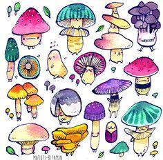 Scribblings Pretty Art, Cute Art, Stickers Kawaii, Posca Art, Mushroom Art, Mushroom Drawing, Arte Sketchbook, Aesthetic Art, Cute Drawings