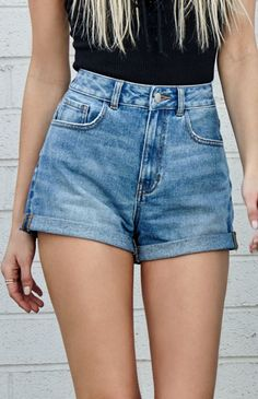 Marine Blue Cuffed Denim Mom Shorts