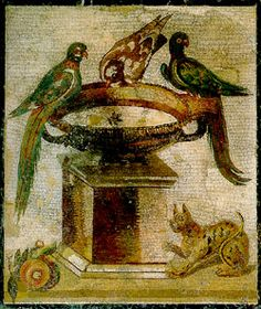 Pompeii - Birds on a basin with Panther. House of the Faun