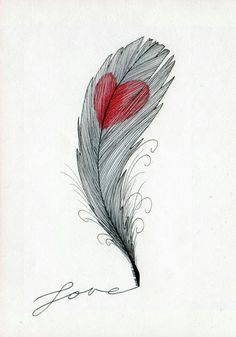 Heart on feather