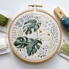 Minimal jungle by Jacinta Walton on Etsy. Cheese plant embroidery.