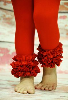 Red Footless Tights with ruffles....so cute! (I could make these! I think leggings like this would be super cute with red, white and green for Christmas and black and orange for Halloween! So many possibilities. Could even use printed or themed ribbon to create the ruffle! Now where is my sewing machine?)