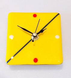 Glass clock handmade fused glass in bright by InMyElementGlass