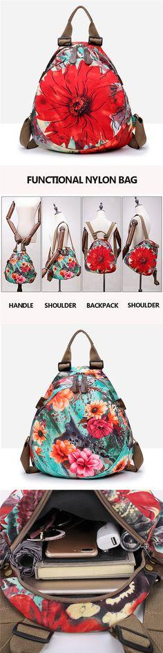 【US$36.48】Multifunctional Flower Pattern Waterproof Bag Backpack Shoulder Bags Handbag For Women #Flower #Summer #Bags #Backpacks #Fashion