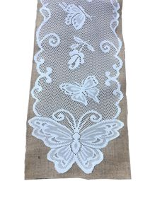 Burlap Table Runner With Lace - Butterfly Design x Burlap Table Runners, Burlap Fabric, Butterfly Design, Bird, Sewing, Lace, Home Decor, Homemade Home Decor, Dressmaking