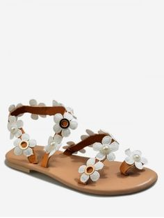 Gender: For Women Style: Fashion Occasion: Casual,Daily Sandals Style: Ankle Strap Heel Type: Flat Heel Closure Type: Slip-On Pattern Type: Floral Outsole Material: Rubber Upper Material: PU Season: Summer Weight: Package Contents: 1 x Shoes (pair) Floral Flats, Flower Patterns, Pattern Flower, Comfortable Sandals, Ankle Strap Heels, Toe Rings, Cheap Shoes, Shoe Sale, Flat Sandals