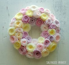 Pastel Spring Wreath from coffee filters