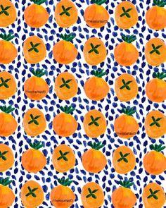 Citrus/blue dots.