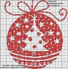 Boule-de-noel chart by Passion Creative Cross Stitch Christmas Ornaments, Xmas Cross Stitch, Christmas Embroidery, Christmas Cross, Cross Stitch Charts, Cross Stitch Designs, Cross Stitching, Cross Stitch Embroidery, Cross Stitch Patterns