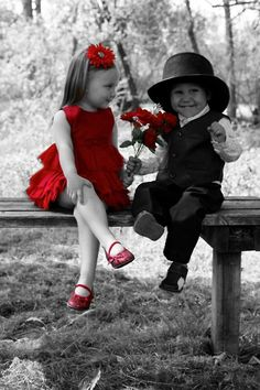photo ... Black and white with a splash of red for romance - too cute! ... adorable kids all dressed up ...