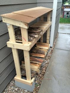 Wood Profits Shed Plans - Firewood Storage that is easy to make and keeps wood dry and out of the snow. (Diy Pallet Planter) Now You Can Build ANY Shed In A Weekend Even If You've Zero Woodworking Experience! Outdoor Firewood Rack, Firewood Shed, Firewood Storage, Pallet Storage, Lumber Storage, Firewood Holder, Patio Storage, Outdoor Storage, Wood Shed Plans