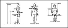 Sketches of a man (back, side, and front-sitting view) labeling the measurements