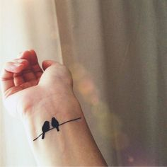 Oiseaux sur fil simple tatouage - tatouage temporaire InknArt - pack collection devis ancre oiseau aiment poignet autocollant corps