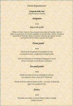 Chef Danyel D'Amato menù...