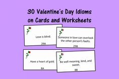 Speech Therapy Ideas: 30 Valentine's Day Idiom Cards and Worksheets. Pinned by SOS Inc. Resources. Follow all our boards at pinterest.com/sostherapy/ for therapy resources.