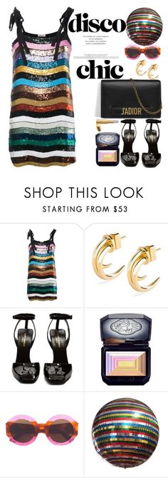 """""""80's DISCO"""" by naki14 ❤ liked on Polyvore featuring Attico, Loewe, Yves Saint Laurent, Shiseido, Gucci, trend, discochic, discodress and 80schic"""