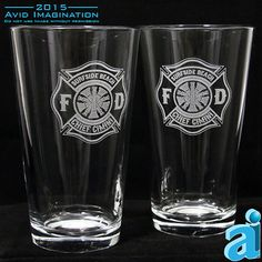 A Pair (2) of Custom Fire Department 16oz Pint Glasses is the perfect gift for your favorite Fireman! Laser Engraved with your Department on the