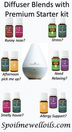 Diffuser blends using oils from the premium starter kit!