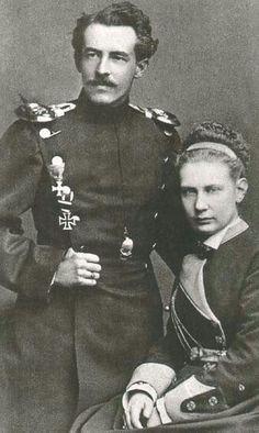 Grand Duchess Vera Konstantinovna Romanova the Elder of Russia with her husband,Duke Eugen of Württemberg in 1874.A♥W