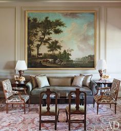 18th century English painting in a living room by Suzanne Rheinstein, photo by Francesco Lagnese - Architectural Digest