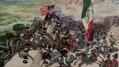 Painted by Mr. Charles McBarron, this painting shows the American assault upon the Mexican position atop Chapultepec during the Mexican American war. Mexican Army, Mexican American War, Texas History, World History, Military Art, Military Uniforms, Mexico Culture, Warfare, Texas Revolution