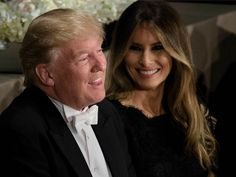 Melania Trump shares a laugh with husband Donald at the Alfred E. Smith Dinner in New York. She handled Donald's joke targeting her with aplomb. #DonaldTrumpTalkingDoll #TrumpBlurbs