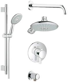 Grohe 35 052 GrohFlex Thermostatic Shower System - Includes Trim Shower Head H Starlight Chrome Faucet Shower System Double Handle