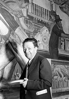 """Diego Rivera at work on his """"Detroit Industry"""" murals at the Detroit Institute of Arts in 1932-33"""
